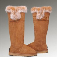 ONETOW Fashion UGG Fox Fur Tall Boots 1852 Chestnut