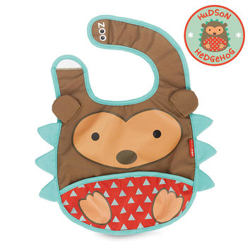 Skip Hop Zoo Tuck-Away Bib - Hudson Hedgehog