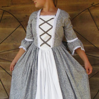 Historical Handmade Modest American Colonial Pioneer Girl -Gray Ball Gown- Child Sizes up to 14