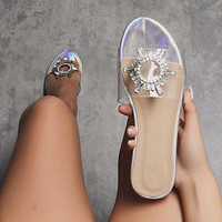 Transparent sandals and slippers Sunflower diamond large size flat sandals