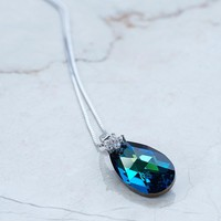 Ocean Blue Swarovski Crystals Teardrop Flower Necklace