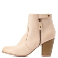Qupid Zip-Up Chunky Heel Booties by Charlotte Russe
