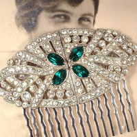 1920s OOAK Emerald Green & Clear Rhinestone Hair Comb, Antique Art Deco Pave Dress Clips to Oval Bridal Headpiece Gatsby Wedding Accessory
