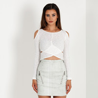 Cold Shoulder Stretch-Knit Top - Off-White