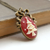 Ivory on Dark Red Christmas Tree Cameo Pendant in Antique Gold - Handmade Christmas Jewelry - Ready to Ship