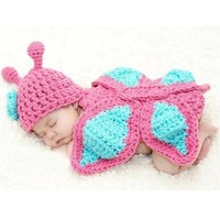 New Born Baby Girl Clothes Romper Butterfly Knit Wool Photo Prop Outfits  H_T (Color: Multicolor) [8833431180]