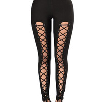 Black High Waist Lace Up Leggings