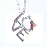 Silver Tone Kitty Love Charm Necklace with Red Bow