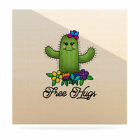 """Noonday Design """"Free Hugs Cactus"""" Green Pastel Luxe Square Panel"""