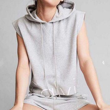 Letter Print Hooded Sleeveless Two-Piece Set