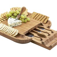 One Kings Lane - Take It Outside - Malvern Cheese Board Set, Bamboo