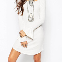 White Flared Sleeve Tunic Dress