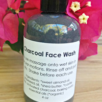 Charcoal Face Wash, Oily Skin Face Wash, Acne Face Wash, Vegan Face Wash, Clarifying Face Wash, organic, paraben free, fragrance free