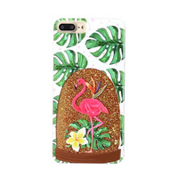 Pink Flamingo Glitter Snow Globe Case for Iphone