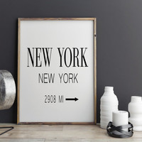 New York City Print Typography Art Print Gift for Him Fashion Art NYC Art Prada Marfa Sign Like in Gossip Girl Print Black and White Poster