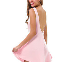 Pink Sleeveless Backless Romantic Loved Ruffle Skater Dress