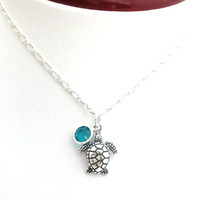 Sea Turtle Necklace, Silver Turtle, Sea Life, Beach Jewelry, Cute Animal, Gift for Beach Lover