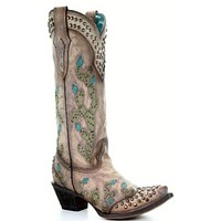 Corral Tobacco Nopal Embroidery & Studs Boot- size 7.5