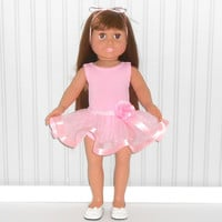 American Girl Doll Clothes Pink Dance Outfit with Leotard and Ribbon Tutu  fits 18 inch Dolls