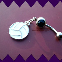Beach Volleyball Belly Ring,Beach Wear,Navel Ring,Belly Button Ring,Athletic,Navel Piercing,TeamSports Preppy,Ready to Ship,Direct Checkout