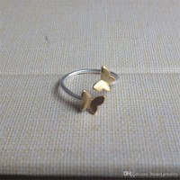 925 Sterling Silver Toe/Midi Ring Golden Double Butterfly Adjustable