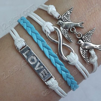 Kind to each other and love each other bracelet-- antique silver Infinity , bird and LOVE bracelet--white wax rope and blue Leather bracelet