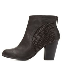 Qupid Basket-Woven Booties by Charlotte Russe - Black
