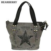 BEARBERRY 2017 BIG STAR PRINTING VINTAGE CANVAS SHOULDER BAGS Women Travel Tote Factory Outlet Plus Size Multifunctional Bolsos