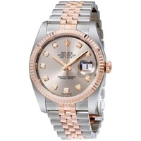 Rolex Datejust 36 Rhodium Diamond Dial Steel And 18k Everose Gold Mens Watch