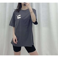 """""""PUMA"""" Woman Leisure Fashion Letter Luminous Personality Printing Crew Neck Loose Short Sleeve Motion Tops"""