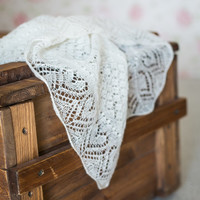 Heart Lace Wedding Shawl, Traditional Triangular Haapsalu Scarf, Soft Wool, Natural White, Hand-knit Stole, Wedding Wrap