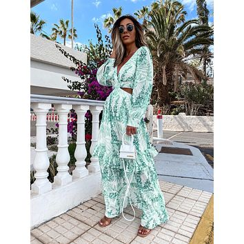 2021 Women Sexy Flower Print Deep V-Neck Fashion Casual Long Sleeve Loose Out Party Dress