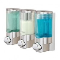 Better Living Products Signature Dispenser lll, Three Chamber Shower Dispenser with Ribbed Bottle, Satin Nickel