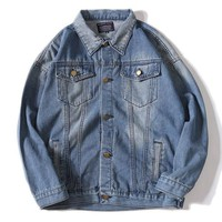 Off White Women Men Fashion Casual Denim Cardigan Jacket Coat