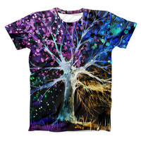 The Inverted Abstract Colorful WaterColor Vivid Tree ink-Fuzed Unisex All Over Full-Printed Fitted Tee Shirt