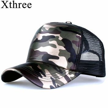 Trendy Winter Jacket Xthree 5 panels summer baseball cap mesh cap faux leather Camouflage snapback hat men hip hop casquettes hats for women bone AT_92_12