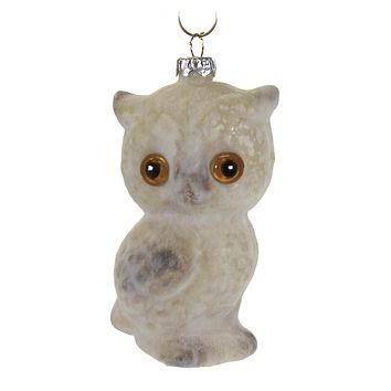 Holiday Ornament Flocked Owl Ornament Vintage Wise - LC8422