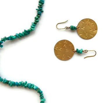 bohemian sun brass earrings // turquoise jewelry