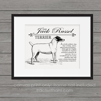 Jack Russell Terrier Storybook Style Canvas Print: Dog, Wall Art, Rustic, Vintage, Antique, Decor, Artwork, DIY, Breed, Gift