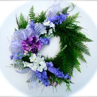 Fern Wreath with Purple Hydrangea, Wisteria, and White Apple Blossoms- Silk floral Summer Wreath, Front Door Wreath