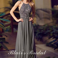 Charming Halter Designer Off the Shoulder A-Line Dark Gray Pink Beaded Crystal Beach and Boho Style Evening Sparkle Prom Dresses