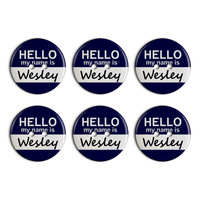 Wesley Hello My Name Is Plastic Resin Button Set of 6