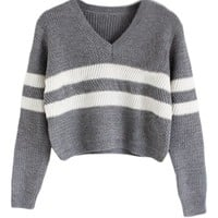 PrettyGuide Women Eyelet Cable Knit Lace Up Crop Long Sleeve Sweater Crop Tops (Striped Grey)