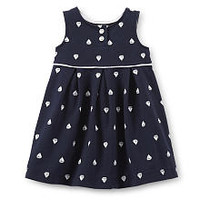 Carter's Girls Sailboat Print Sleeveless French Terry Dress with Diaper Cover