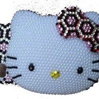 Hello Kitty BLING Pink Leopard 3d Handmade Crystal & Faux Pearl Iphone 4 case/cover by Jersey Bling