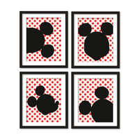 Kids artworks- room decor- mickey mouse silhouette- red polka dots - four arts