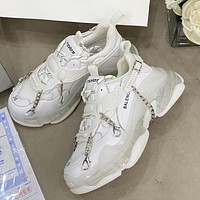 Balenciaga Triple S new product chain accessories ladies casual shoes White
