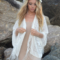 White Wedding Short Fringe Jacket