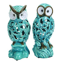 "Decorative Ceramic 11"" Owl In Blue With Well Design (Set Of 2)"