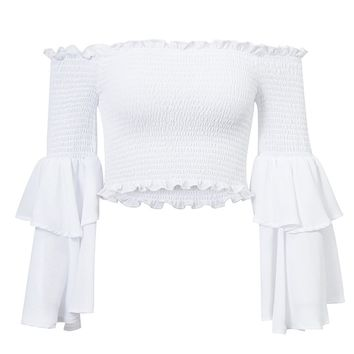 Always A Star White Long Bell Sleeve Smocked Off The Shoulder Crop Top - 4 Colors Available
